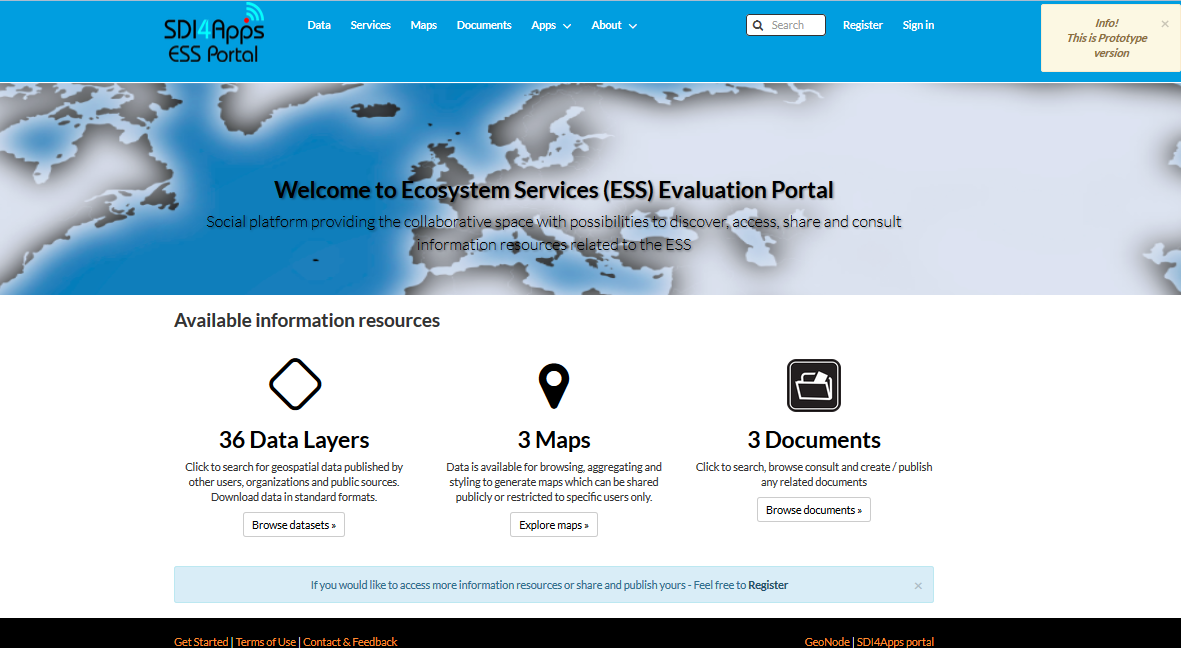 ESS evaluation portal (screenshot)